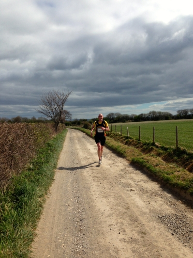 Half marathon winner coming past